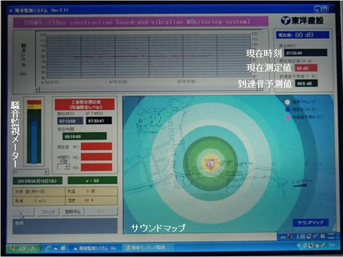 地盤改良工事中の広域監視例・監視画面