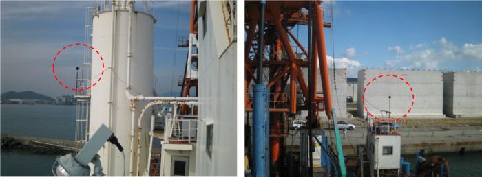 作業船にマイクを設置し、工事の騒音を監視