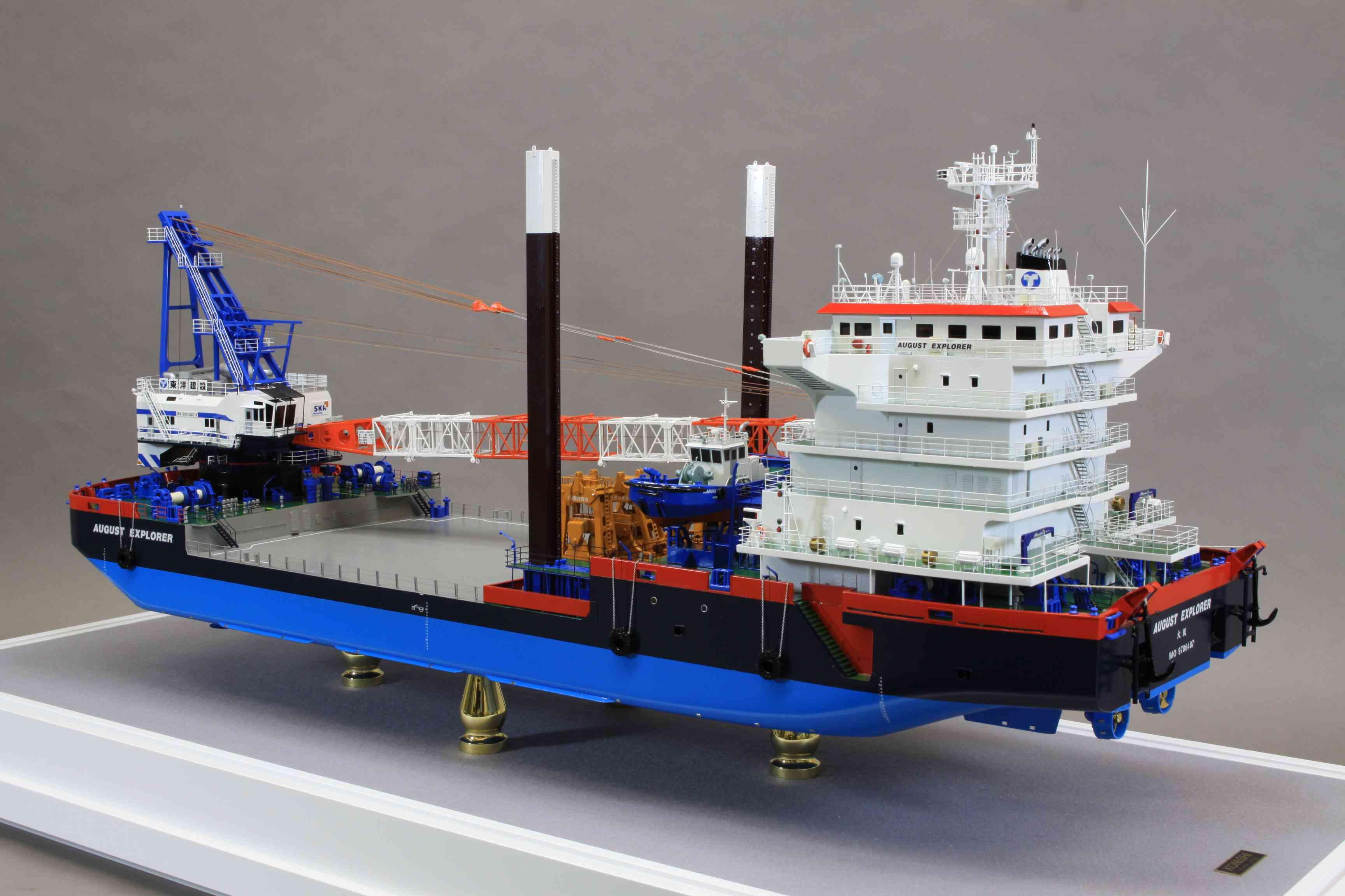 実際に展示する船の模型